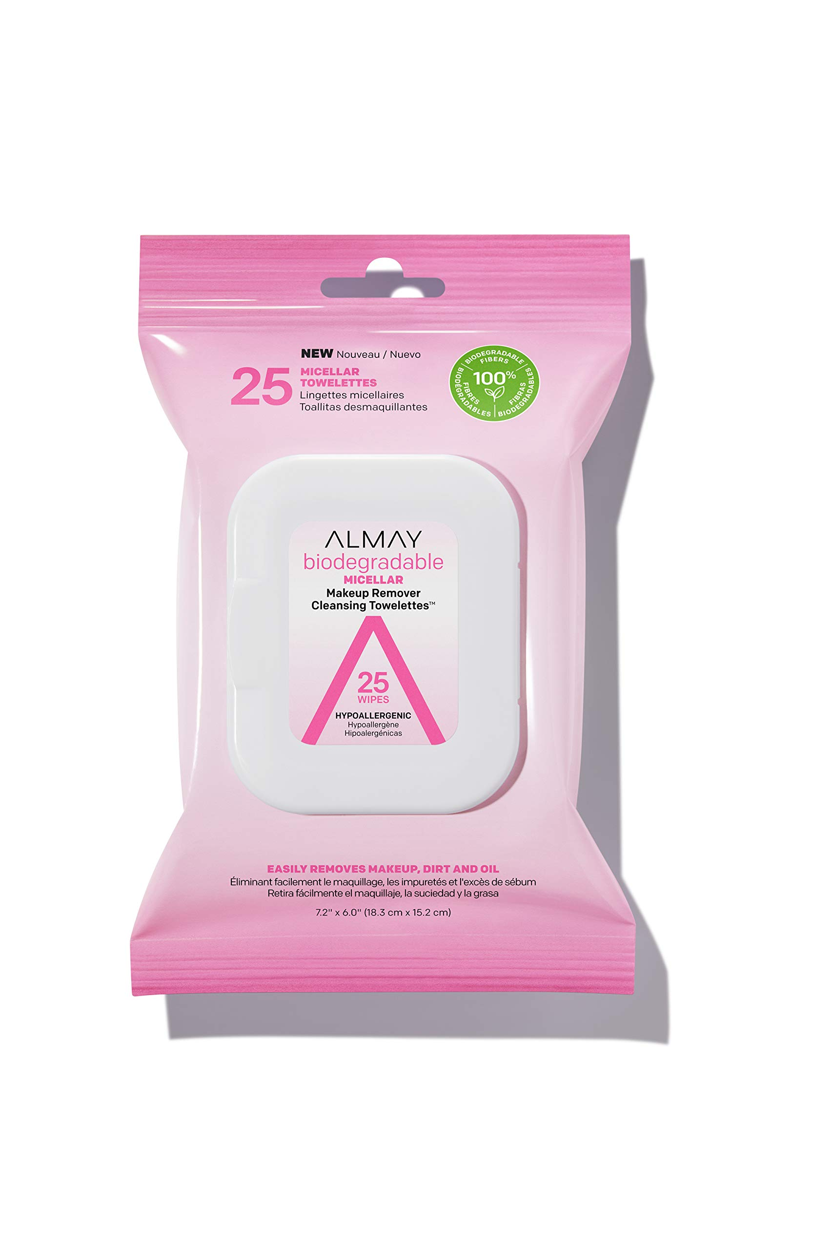 Almay Biodegradable Micellar Makeup Remover Cleansing Towelettes, Hypoallergenic, Cruelty Free, Fragrance Free, Dermatologist Tested, 25 Makeup Remover Wipes