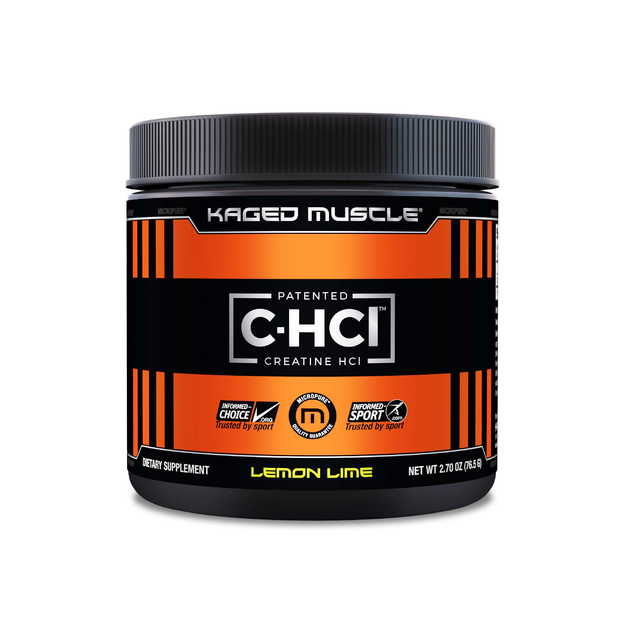 Creatine HCl Powder, Kaged Muscle Creatine HCl, Patented Creatine Hydrochloride Powder, Highly Soluble Creatine Hydrochloride 750mg, Lemon Lime, 75 Servings