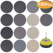 180 PCS 3 Inch Sandpaper, GOH DODD Wet Dry Sander Sheets with Backing Pad and Soft Foam Buffering Pad, 60 to 10000 Grits Grinding Abrasive Sanding Disc for Wood Metal Mirror Jewelry Car