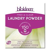 Biokleen Free & Clear Natural Laundry Detergent - 150 Loads - Powder, Concentrated, Eco-Friendly, Non-Toxic, Plant-Based, No Artificial Fragrance or Preservatives, Free & Clear,