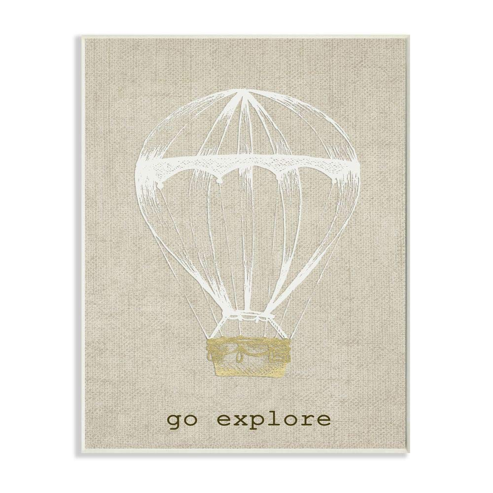 Stupell Home Décor Go Explore Hot Air Balloon Wall Plaque Art, 10 x 0.5 x 15, Proudly Made in USA