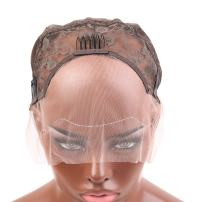 Bella Hair Undetectable Swiss Lace Front Wig Cap for Making Wigs with Adjustable Straps and Combs Large Size Skin Color Dark Brown