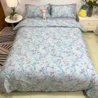 EAVD Yellow Pink Floral Duvet Cover Twin Bedding Sets for Girls Boys Super Soft 100% Cotton Bedding Duvet Cover with 2 Pillowcases Garden Style Floral Leaves Pattern Bedding Set with Zipper Closure