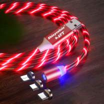 3.3ft Magnetic Charger Red Cable, Led Flowing Shining Light UP 3 in 1 Multi Universal for Kids Christmas Halloween Party Decorations Gift Cable Compatible Micro USB Type C iProduct Android Devices