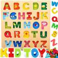 CozyBomB Wooden Alphabet ABC Baby Puzzle for Toddlers 2 3 Years - Alphabets Name Puzzles Set Letter Blocks for Kids Learning Educational Montessori Letters Jigsaw Board Games Toys for Kindergarten