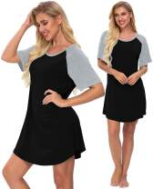 SWOMOG Women's Nightgown Short Sleeve Soft Sleepwear Raglan Sleepshirt Loungewear Nightshirts