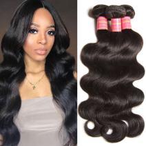 YIROO Malaysian Virgin Human Hair Weft, Body Wave 3 Bundles Mixed Length 95-100g/PC Unprocessed Remy Hair Natural Black Color (8 10 12 inch)