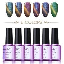 Color changing cat eye gel nail polish, Beau Gel UV LED 3D Chameleon mood magnet polish with Nail Magnet Stick (6 Colors) #03