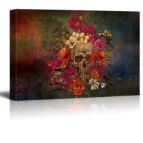 wall26 - Canvas Print Wall Art - Day of The Dead (Dia De Los Muertos) Themed Skull with Flowers - Gallery Wrap Modern Home Decor | Ready to Hang - 24x36 inches