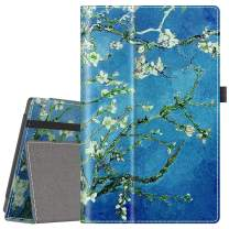 VORI Case for All-New Amazon Fire HD 10 Tablet (9th/7th/5th Generation,2019/2017/2015 Release), Folio Folding Smart Stand Cover with Hand Strap and Auto Wake/Sleep for Fire HD 10.1 Inch, Almond Blossom
