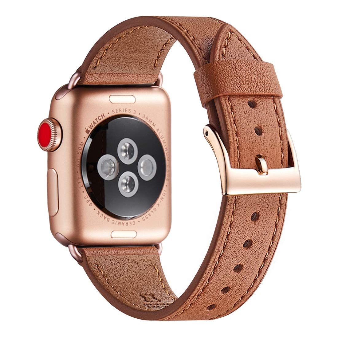 WFEAGL Compatible iWatch Band 42mm 44mm, Top Grain Leather Band with Gold Adapter (The Same as Series 5/4/3 with Gold Aluminum Case in Color) for iWatch Series 5/4/3/2/1 (Brown Band+Rosegold Adapter)