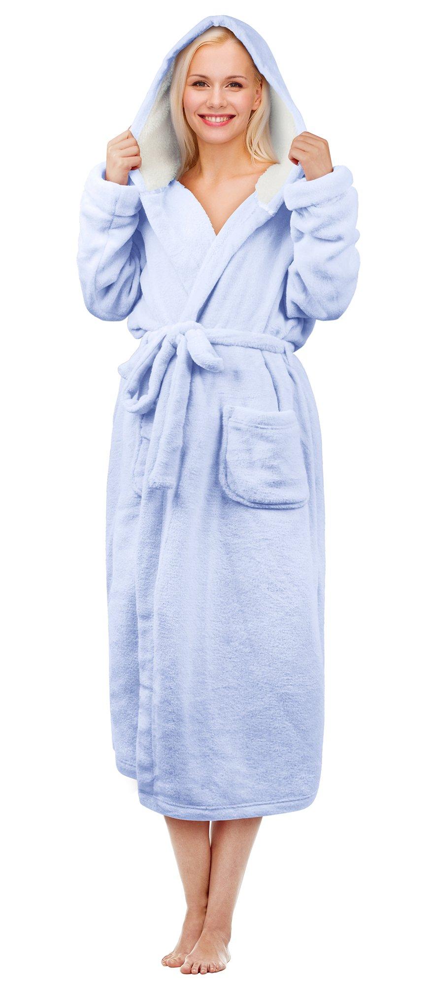 Hooded Sherpa Robe Long Plush Fuzzy Bathrobe For Women With Hood Sherpa Lined