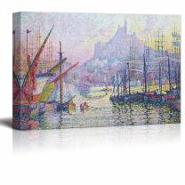 """wall26 - View of The Port of Marseilles by Paul Signac - Canvas Print Wall Art Famous Painting Reproduction - 12"""" x 18"""""""