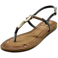 Ollio Women's Shoe Metallic T-Strap Comfort Zori Flat Sandal