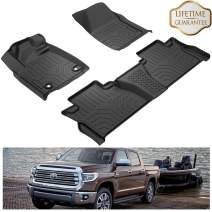 KIWI MASTER Floor Mats Compatible for 2014-2020 Toyota Tundra CrewMax Cab Double Cab All Weather Protector Mat Liners Front Rear 2 Row Seat TPE Slush Liner Black