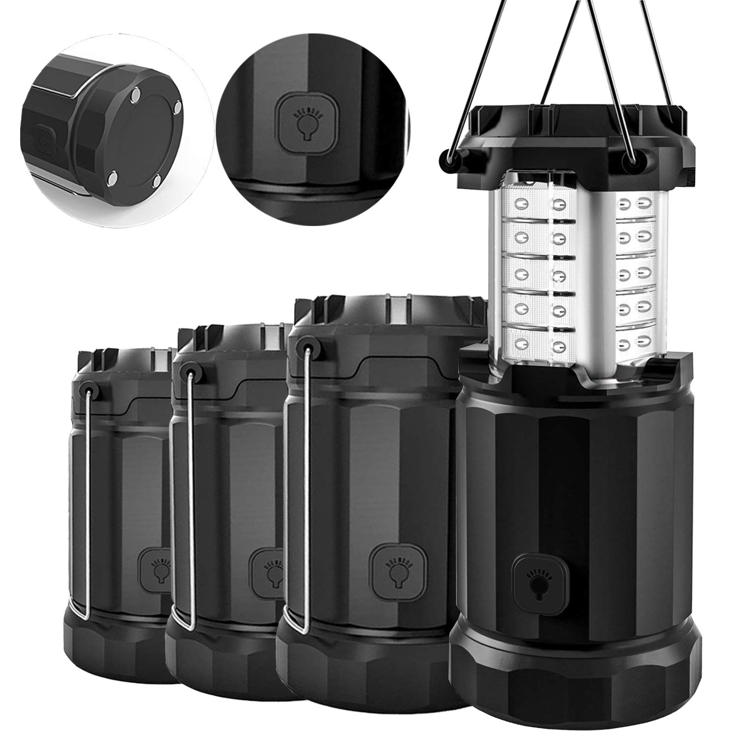 Etekcity 4 Pack LED Lantern Camping Portable Flashlights with AA Batteries, Upgraded Magnetic Base and Dimmer Button- Collapsible Survival Lights for Emergency, Hurricane, Storm, Outage