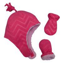 N'Ice Caps Little Girls and Baby Sherpa Lined Warm Fleece Pilot Hat Mitten Set