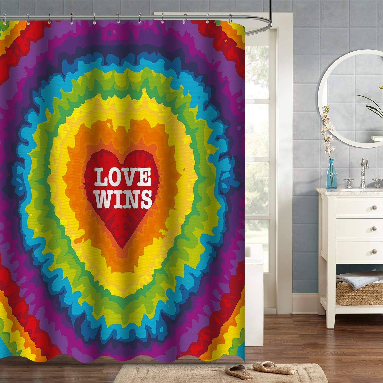 """VVA Tie Dye Love Wins Fabric Shower Curtain, Groovy Vintage Style Heart with Rainbow Colors, Valentines Pride, Cloth Bathroom Decor Set with Hooks, 72"""" Long, Colorful Yellow Orange Purple Red Blue"""