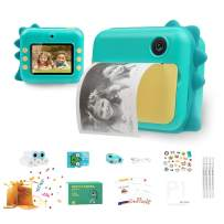QuTZ Kids Instant Camera Video Selfie Photo Shooting Digital Camera for Toddlers 16GB SD Card Included 13 Selfie Cartoon Frames Cellphone Photo Printing Portable Lanyard Rechargeable Green