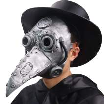 CosTribe Gothic Steampunk Plague Doctor Mask Long Nose Bird Beak Mask for Halloween Party Costume (Silver)