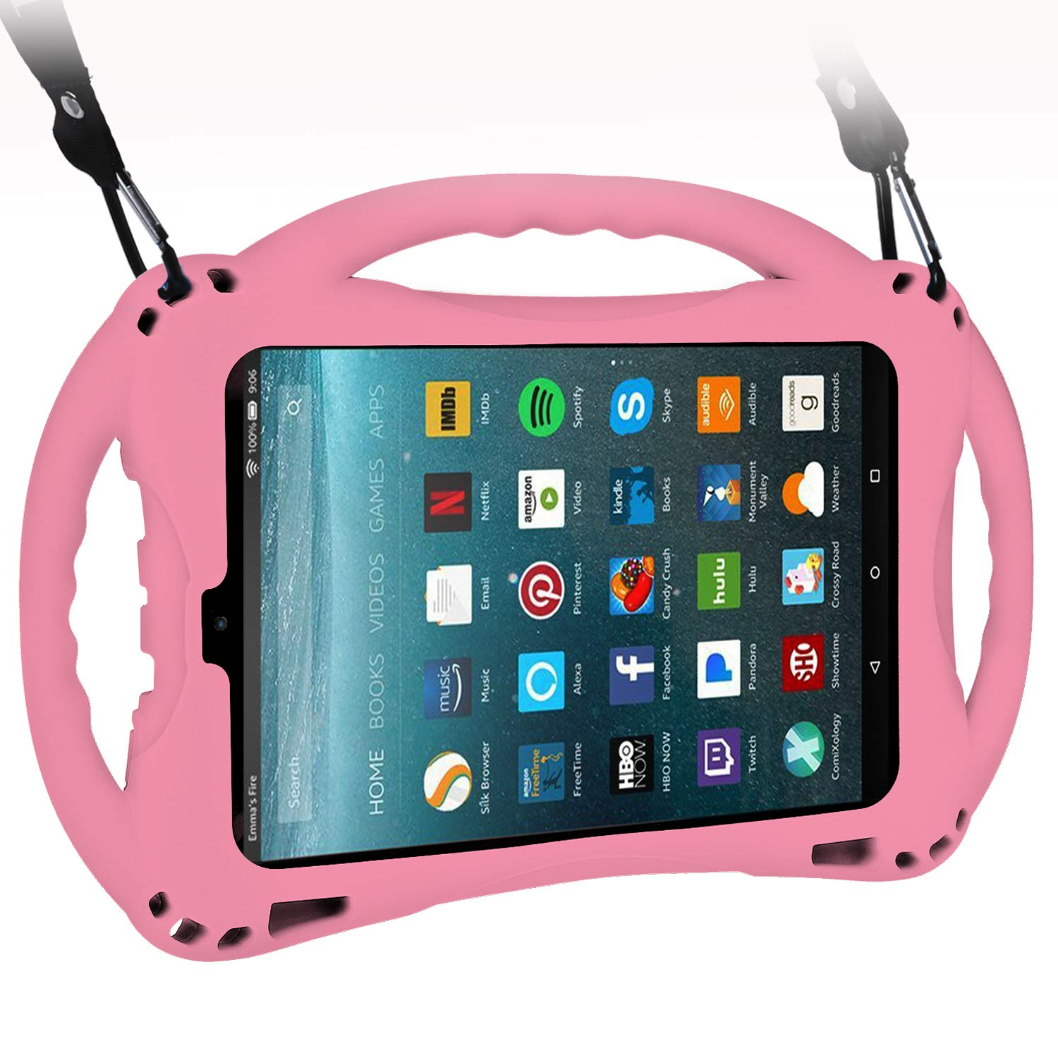 TopEsct Kid-Proof Case for All-New Amazon Fire HD 8 inch(Compatible with 7th&8th Generation Tablets, 2017&2018 Releases) Handle Stand Cover Case for Kids (Pink)