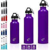Day 1 Fitness Stainless Steel Water Bottle Standard Mouth - Carabiner Clip (16 oz, 24 oz, or 32 oz) - 3 Size and 8 Color Options – Vacuum Insulated, Double Walled, Powder-Coated Sweat Proof Thermos