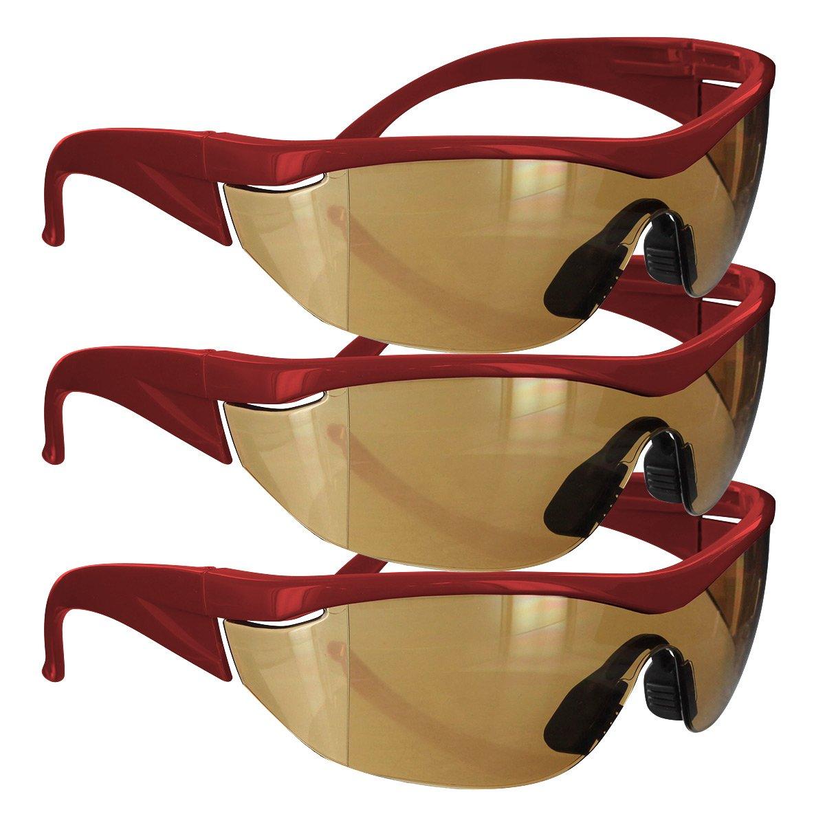 Safety Girl Navigator Safety Glasses (3 Pair-Red Frame-Amber Lense)