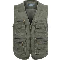 Flygo Men's Casual Multi Pockets Outdoor Work Utility Fishing Photo Journalist Vest