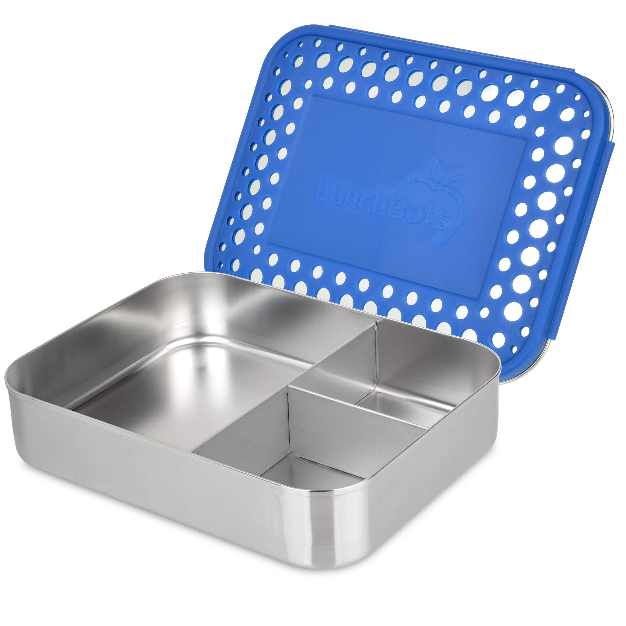 LunchBots Large Trio Stainless Steel Lunch Container -Three Section Design for Sandwich and Two Sides - Metal Bento Lunch Box for Kids or Adults - Eco-Friendly - Stainless Lid - Blue Dots