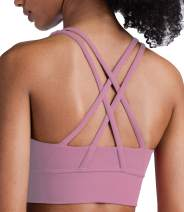 Lavento Strappy Sports Bras for Women Longline Padded Medium Support Yoga Top