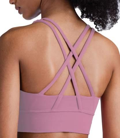 Lavento Strappy Sports Bras for Women Longline Padded Medium Support Yoga Training Bra Top