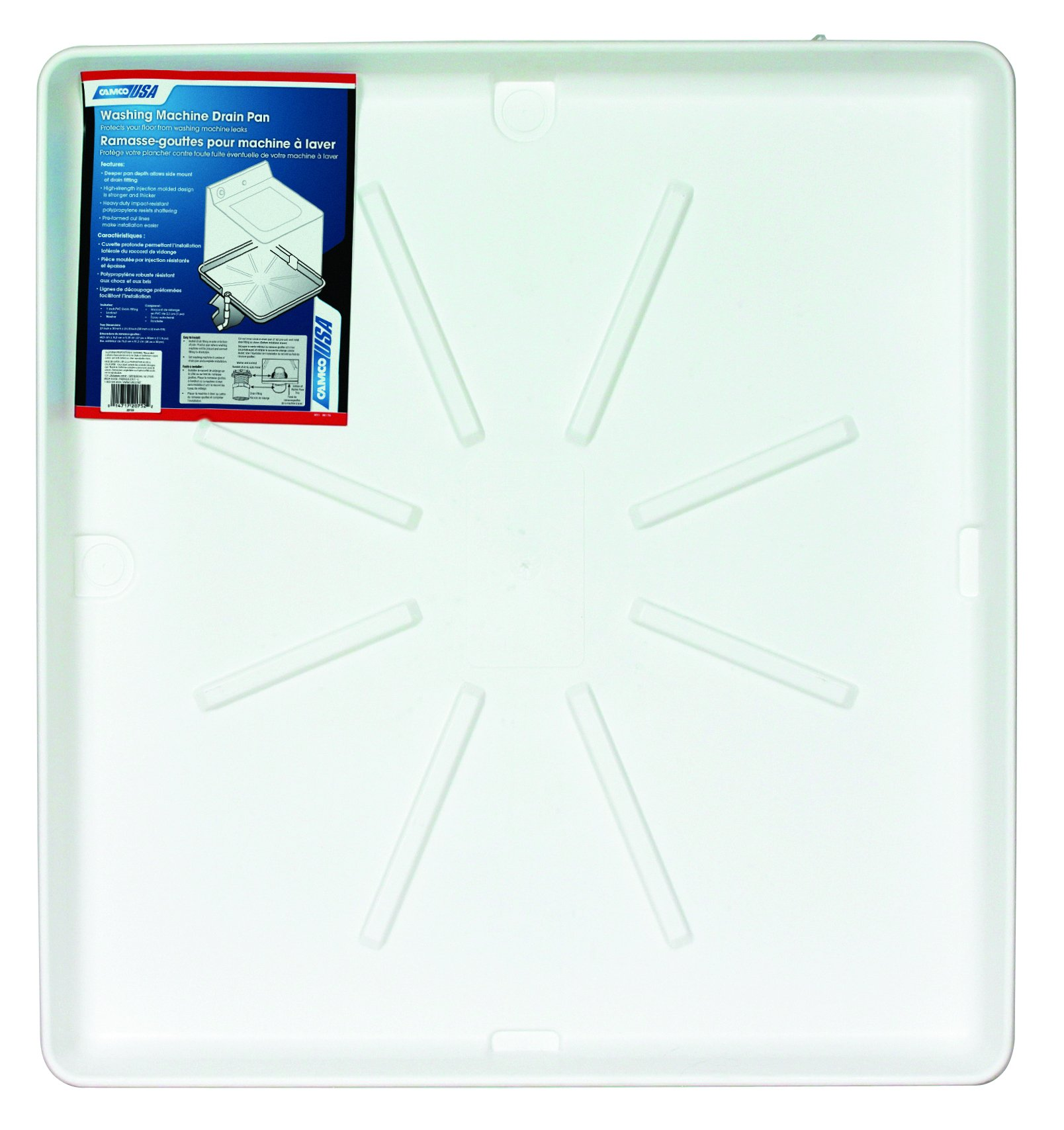 "Camco 20751 32"" x 30"" Washing Machine Drain Pan with PVC Fitting - Protect Your Floor From Washing Machine Leaks, White"