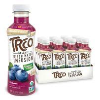 Treo Fruit & Birch Water Drink, Blueberry, USDA Organic, Non-GMO Project Verified, Vegan, Gluten-Free, 10 Calories & 1g of Sugar Per Serving, Good Source of Vitamin C, 16 fl oz, Pack of 12