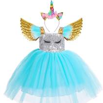 Baby Toddler Girls Unicorn Dress with Wings LED Headband Princess Costume Halloween Birthday Party Outfit Tutu for Girls