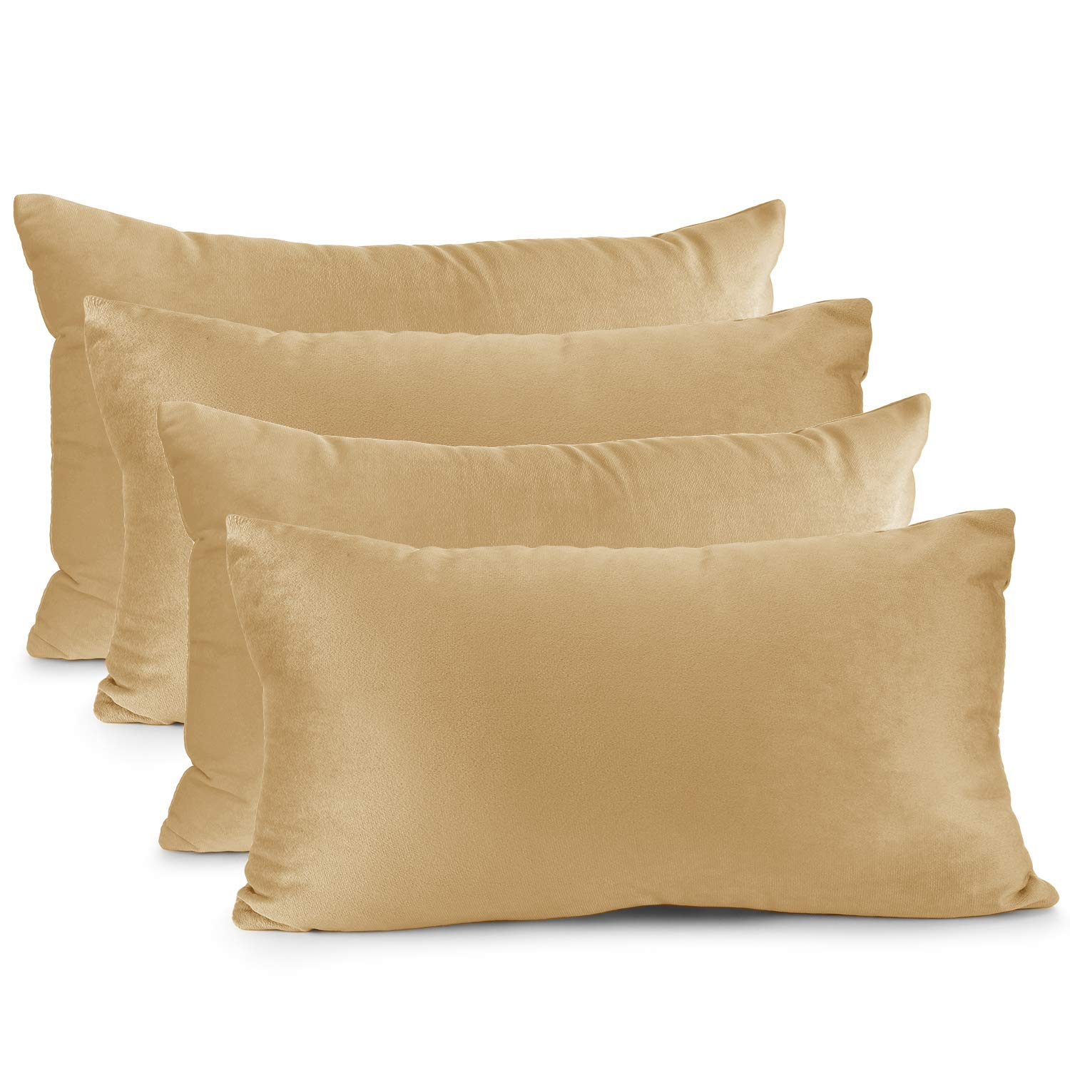 """Nestl Bedding Throw Pillow Cover 12"""" x 20"""" Soft Square Decorative Throw Pillow Covers Cozy Velvet Cushion Case for Sofa Couch Bedroom, Set of 4, Camel Gold"""