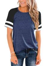 Cyanstyle Womens Casual Raglan Short Sleeve Tops Round Neck Color Block Striped Baseball Tunic Sporty Tee Shirt