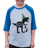 7 ate 9 Apparel Kid's Five Dinosaur Birthday Blue Raglan Tee