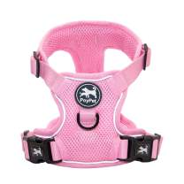 PoyPet Reflective Soft Breathable Mesh Dog Harness Choke-Free Double Padded Vest with Adjustable Neck and Chest