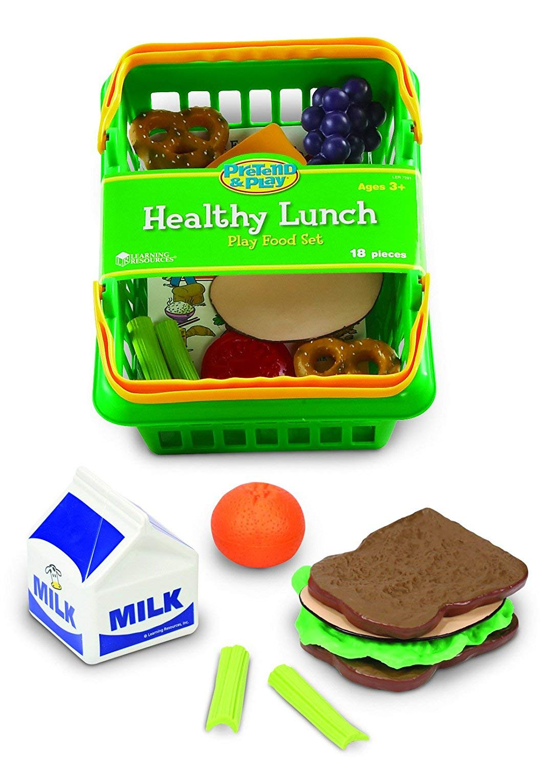 Learning Resources Healthy Lunch Basket, Toddler Play Food, 17 Pieces, Ages 3+, LER7291, Multicolor,