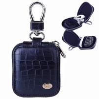 MRPLUM Earbud Carrying Case Small Compatible with AirPods PU Leather Hard Portable Earphone Case Protective Storage Pouch Bag with Mesh Pocket & Keychain for Wireless Headphone USB Cable (Navy Blue)