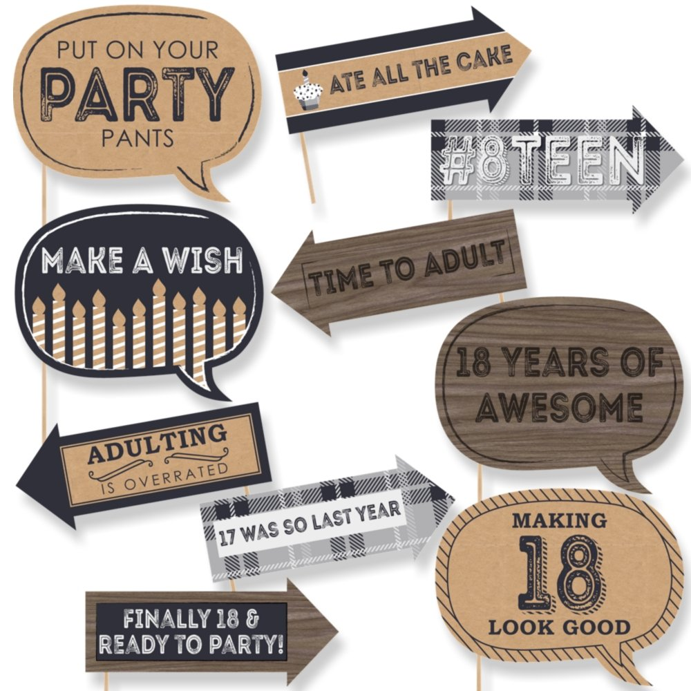 Big Dot of Happiness Funny 18th Milestone Birthday - Time to Adult - 18th Birthday Party Photo Booth Props Kit - 10 Piece