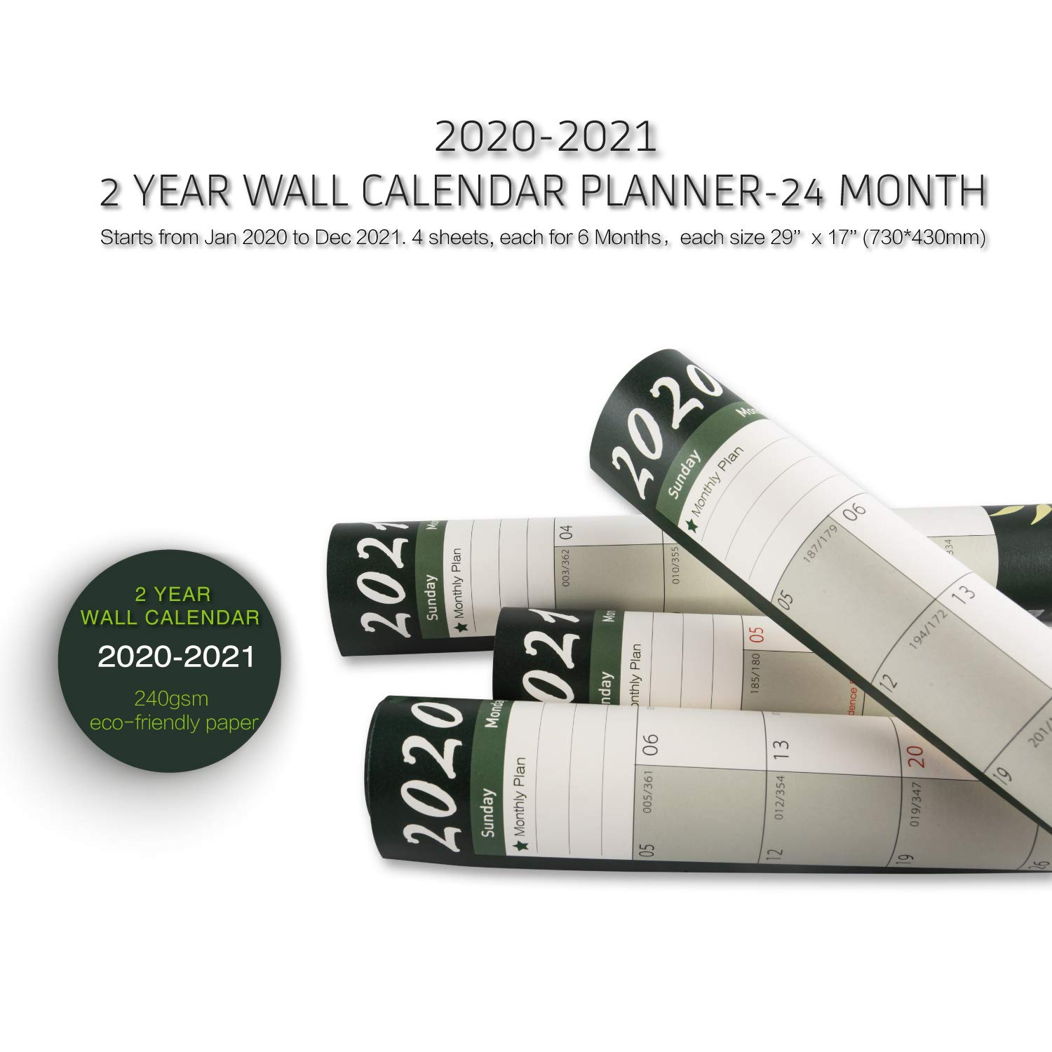 2 Year Wall Calendar 2020-2021. Academic Wall Planner, Teacher Planner, Monthly Planner for Home, Office or School Organization. Runs Jan 2020 to Dec 2021. 4 Sheets, Each for 6 Month-Non-Laminated