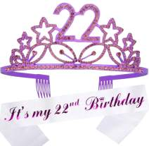 22nd Birthday Gifts for Woman, 22nd Birthday Tiara and Sash Purple, HAPPY 22nd Birthday Party Supplies, 22 & Fabulous Glitter Satin Sash and Tiara Birthday Crown for 22nd Birthday Party Supplies