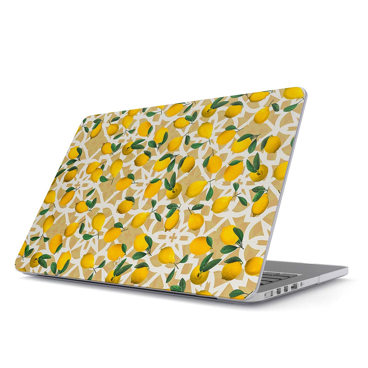 BURGA Hard Case Cover Compatible with MacBook Pro 13 Inch Case Release 2012-2015, Model: A1502 / A1425 Retina Display NO CD-ROM Lemon Pattern Vintage Fruits Citrus Exotic Tropical Yellow Summer