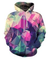EOWJEED Unisex Realistic 3D Print Galaxy Pullover Hooded Sweatshirt Hoodies with Big Pockets