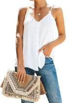 FARYSAYS Women's V Neck Button Down Strappy Cami Tank Tops Sleeveless Shirts Blouses