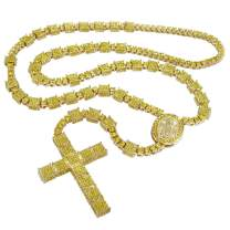 NIV'S BLING - Jesus Cross Chain for Men and Women Iced with Cubic Zirconia   14K Yellow Gold/White Gold/Black Gold Plated Rosary Pendant & Necklace 36 Inches