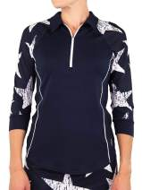 Jofit Women's Firecracker Collection Quarter Zip 3/4 Sleeve Raglan Polo Shirt