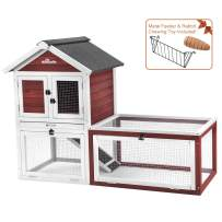 Aivituvin Rabbit Hutch Indoor and Outdoor Bunny cage on Wheels with 3 Deep No Leakage Pull Out Tray,Waterproof Roof