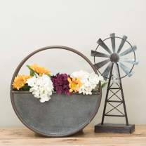 Foreside Home & Garden Rustic 14.25 x 14.25 inch Round Galvanized Metal Wall Planter, 14.25 x 14.25
